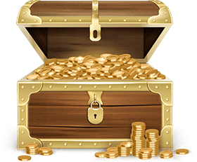treasure chest opened and exposing gold coins